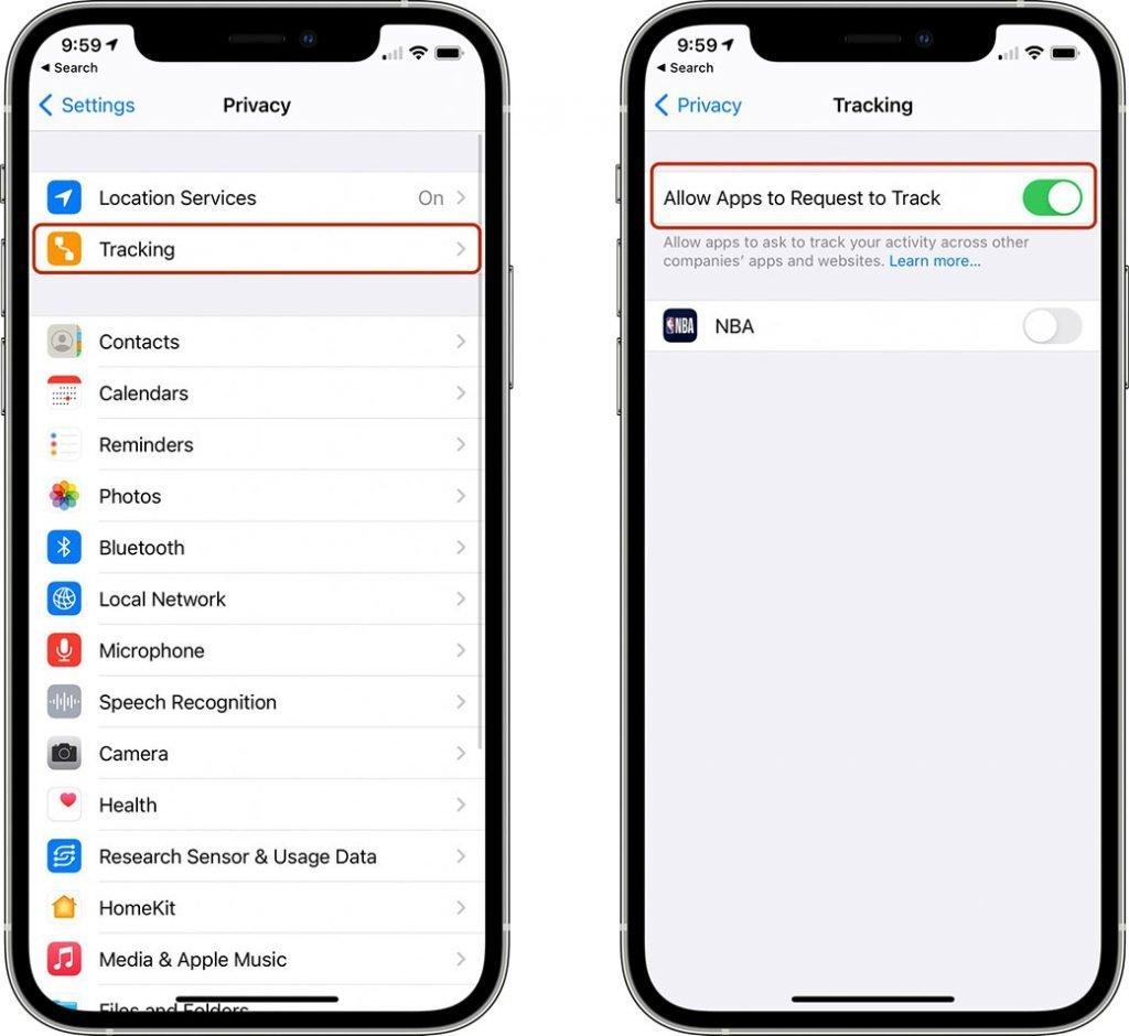 Apple iOS 14.5 IFDA opciones rastreo
